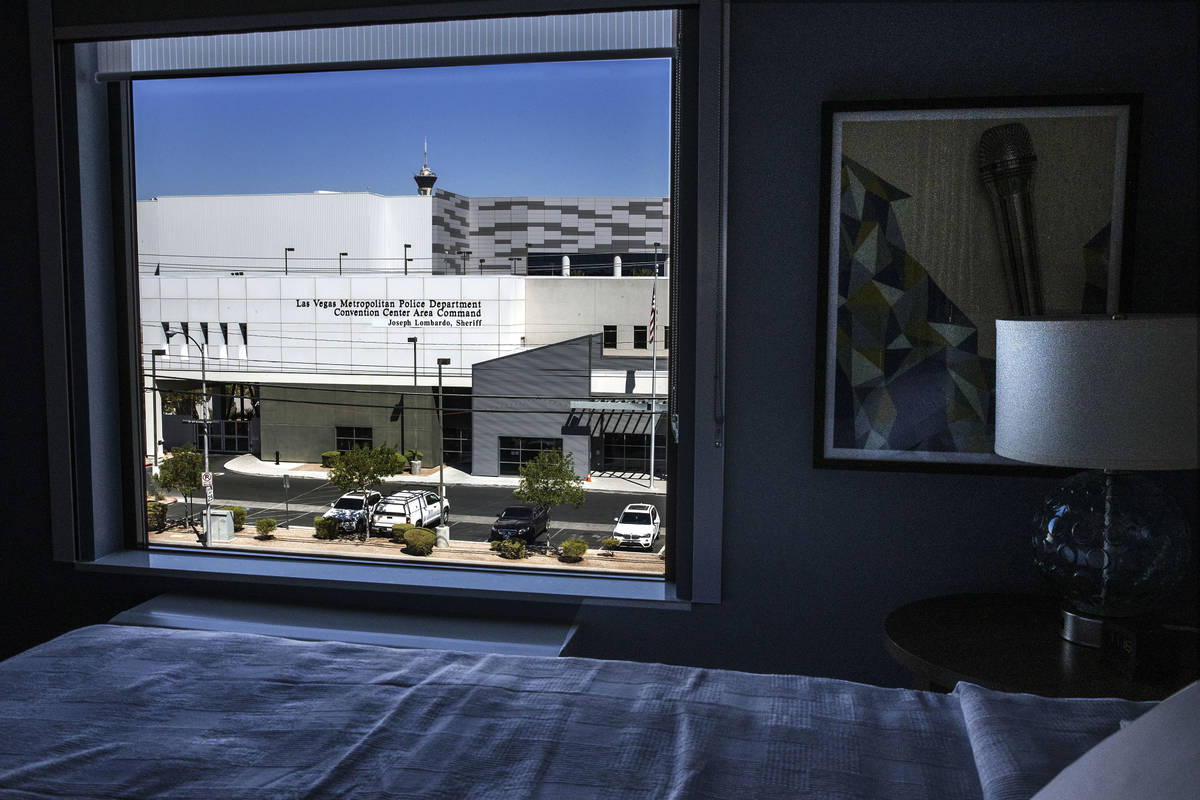 The Las Vegas Convention Center as seen from a newly built Home2 Suites hotel room on Thursday, ...