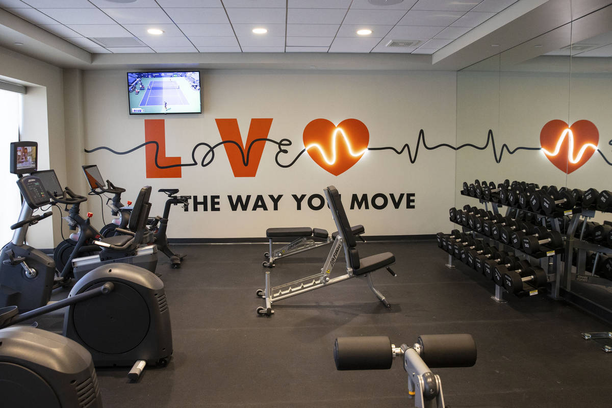Fitness center at a newly built, dual branded Hampton Inn & Suites and Home2 Suites hotel, ...