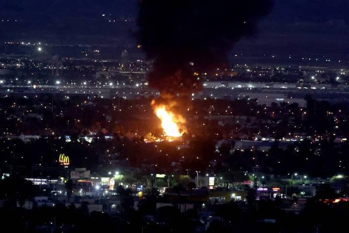 A fire burns north of downtown Las Vegas Thursday, Sept. 3, 2020. (K.M. Cannon/Las Vegas Review ...