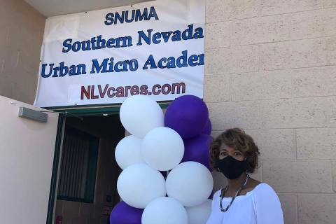 North Las Vegas Councilwoman Pamela Goynes-Brown poses next to the Southern Nevada Urban Micro ...