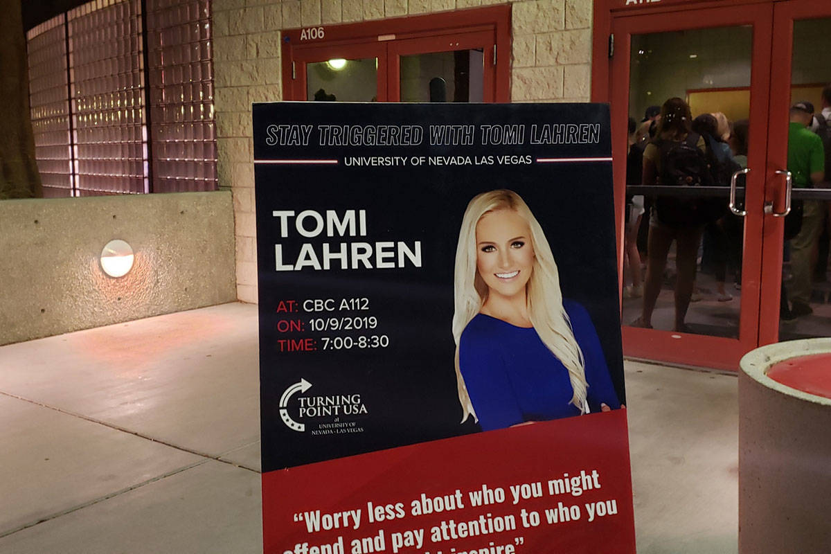 """UNLV alumna Tomi Lahren returned to campus Wednesday, Oct. 9, 2019, for a speech, titled """"Sta ..."""