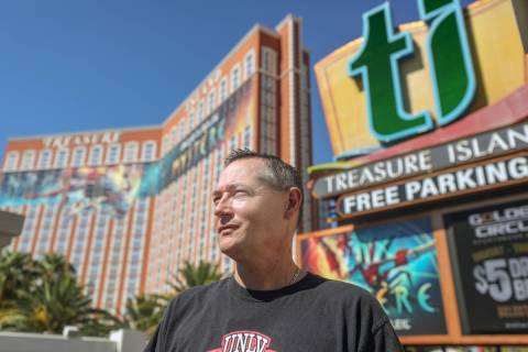 Todd Henderson is a Treasure Island employee on the Las Vegas Strip, Wednesday, Sept. 2, 2020. ...