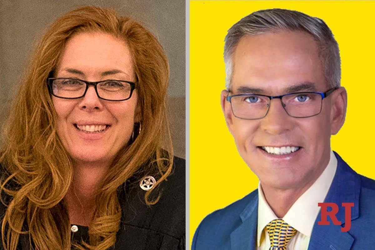 Heidi Almase and Jim Davis, candidates for Family Court Dept. X (Las Vegas Review-Journal/Jim D ...