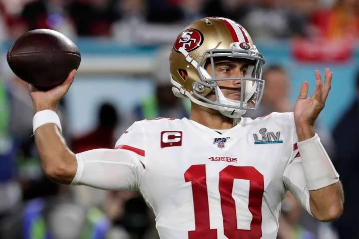 San Francisco 49ers quarterback Jimmy Garoppolo passes against the Kansas City Chiefs during th ...