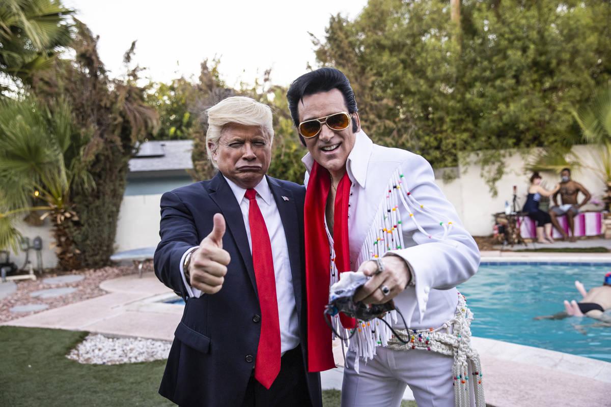 John Di Domenico as President Trump and Four Queens Elvis tribute artist Steve Connolly are sho ...
