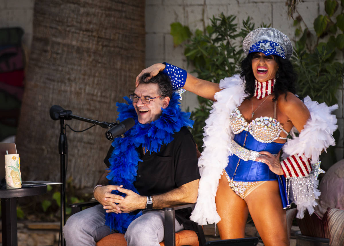 "Jennifer Romas of ""Sexxy"" at Westgate Las Vegas is shown with John Katsilometes during the PodK ..."