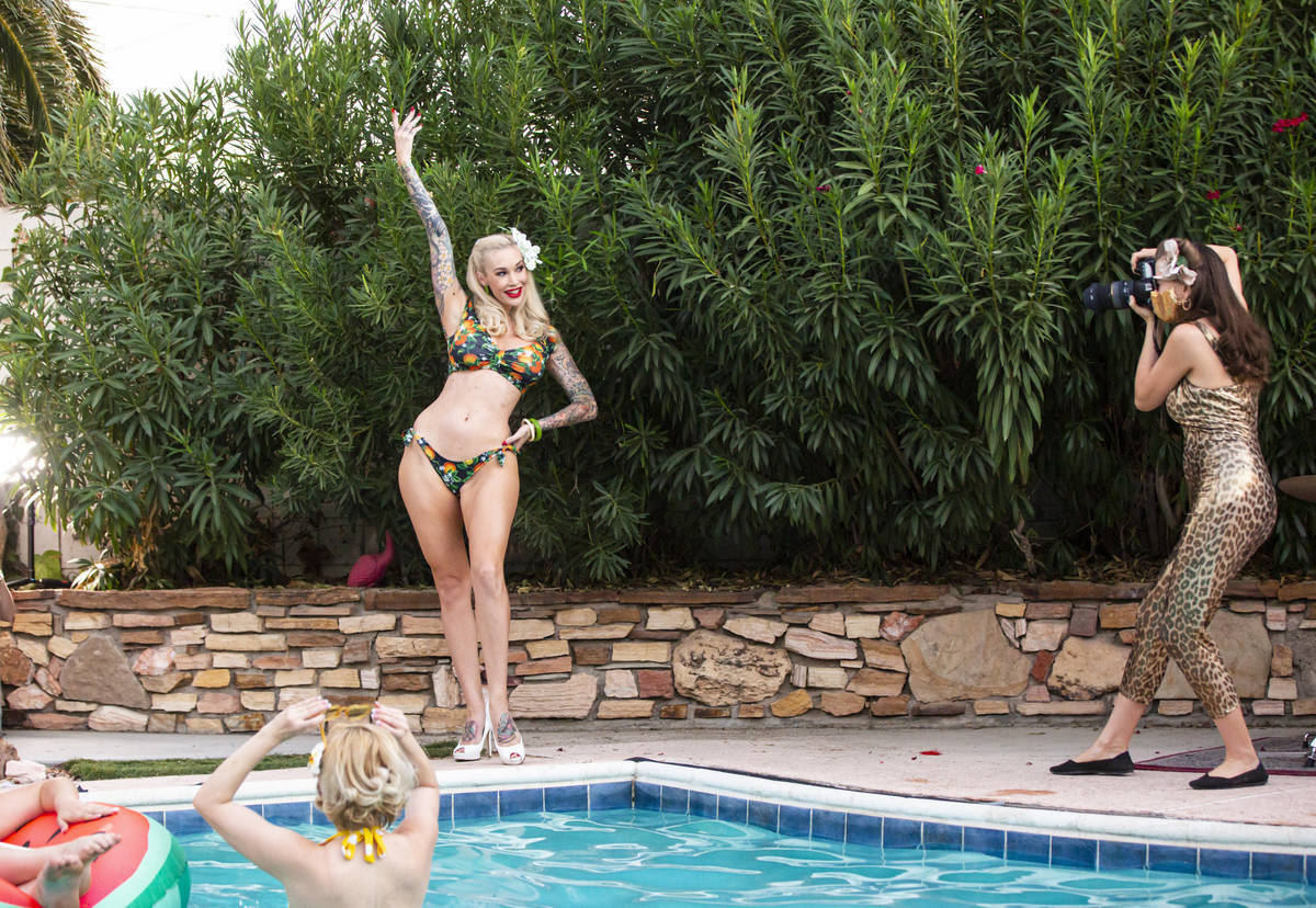 Pinup star Sabina Kelley and photographer and burlesque artist Bettina May are shown during the ...
