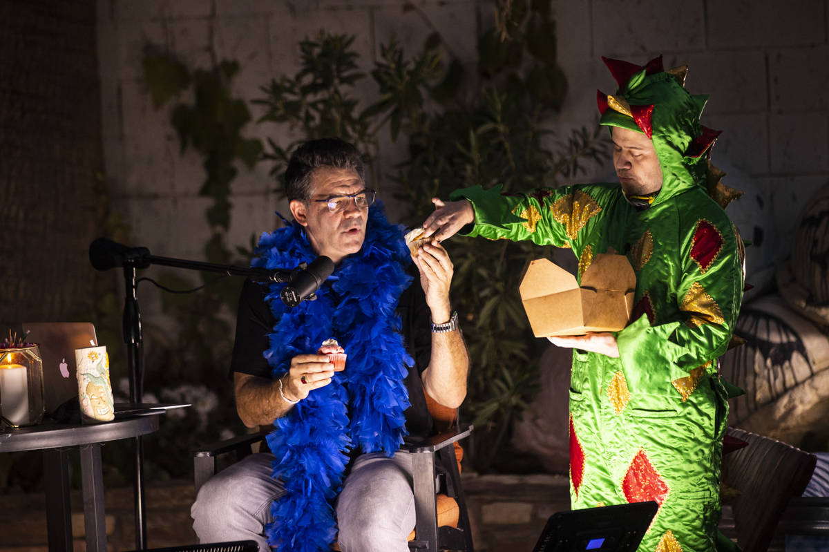 John Van Der Put, aka Piff The Magic Dragon, is shown with John Katsilometes during the PodKats ...