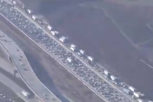 A traffic jam is seen on Interstate 15 at Cajon Pass in Southern California on Sept. 4, 2020. ( ...