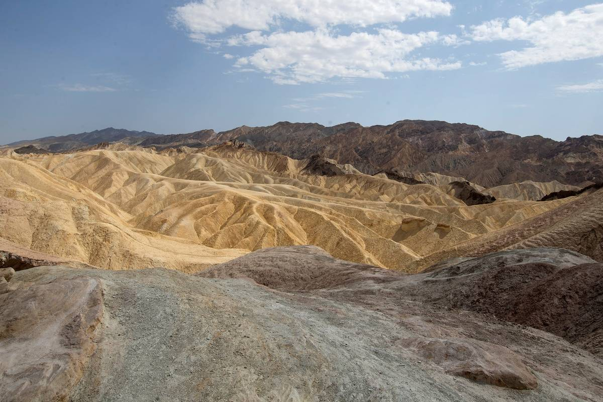 Zabriskie Point at Death Valley National Park, where temperatures reached 127 degrees, on Monda ...