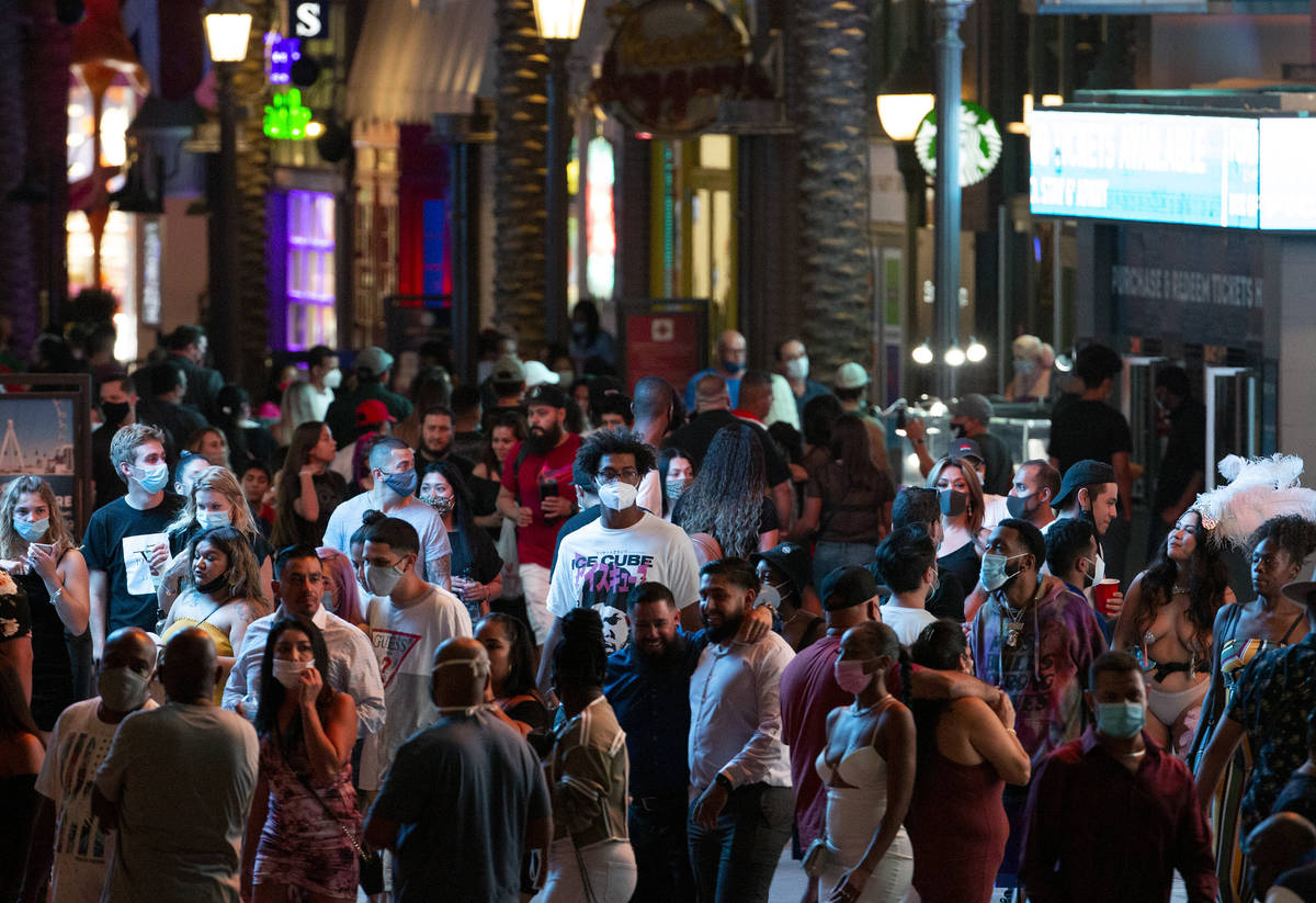 The LINQ is crowded with visitors during Labor Day weekend on Saturday, Sept. 5, 2020, on the L ...