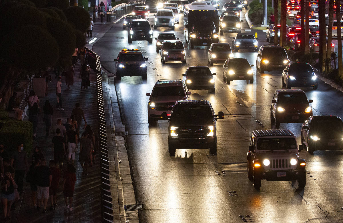 Traffic fills Las Vegas Boulevard as visitors crowd the Strip during Labor Day weekend on Satur ...