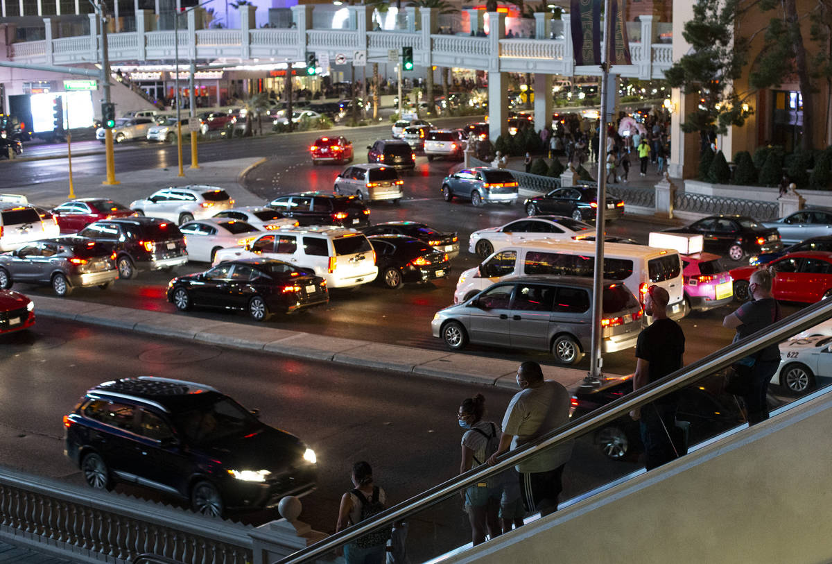 Both pedestrian and motorist traffic picked up on the Strip during Labor Day weekend on Saturda ...