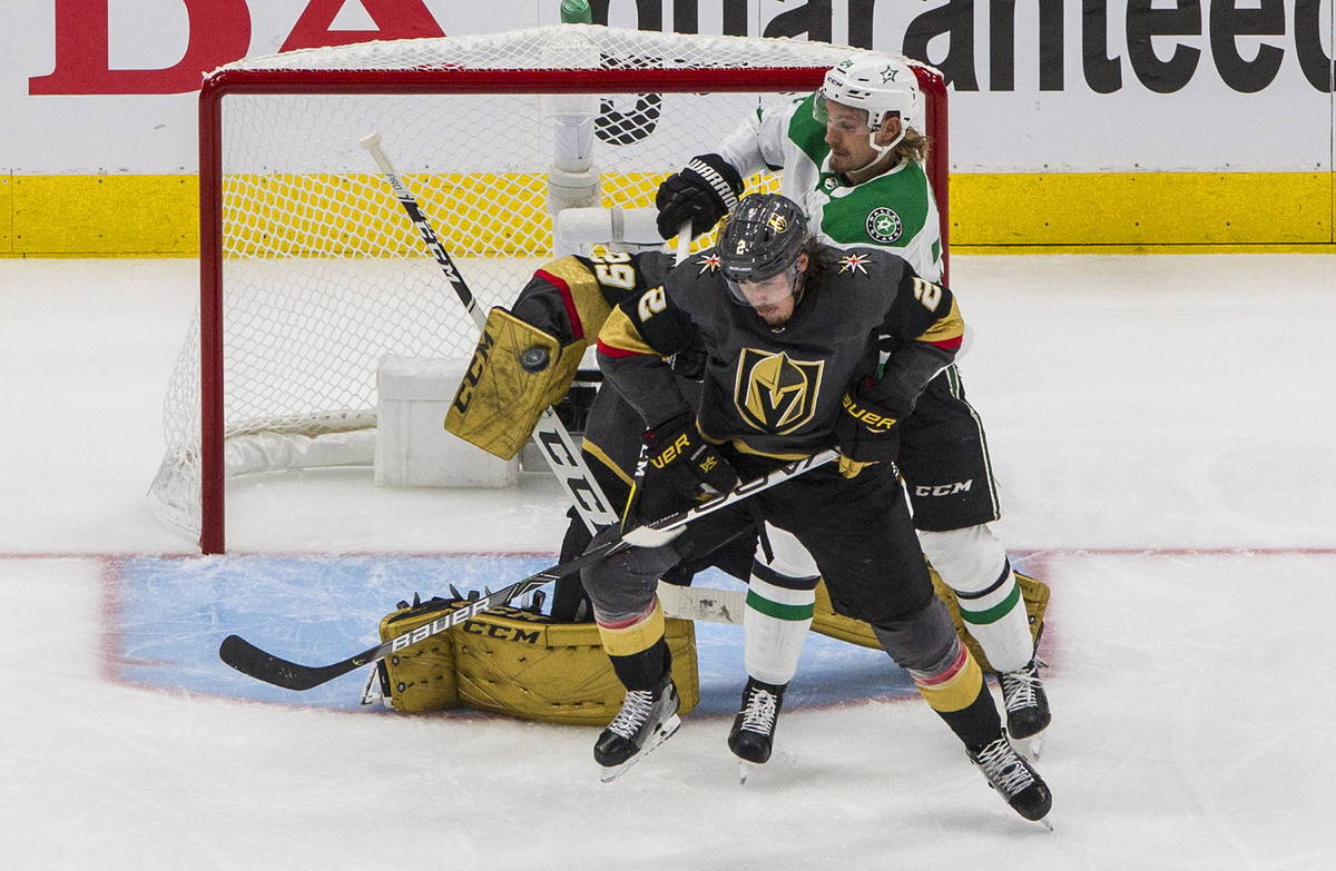 Vegas Golden Knights goalie Marc-Andre Fleury (29) makes a save as Dallas Stars' Roope Hintz (2 ...