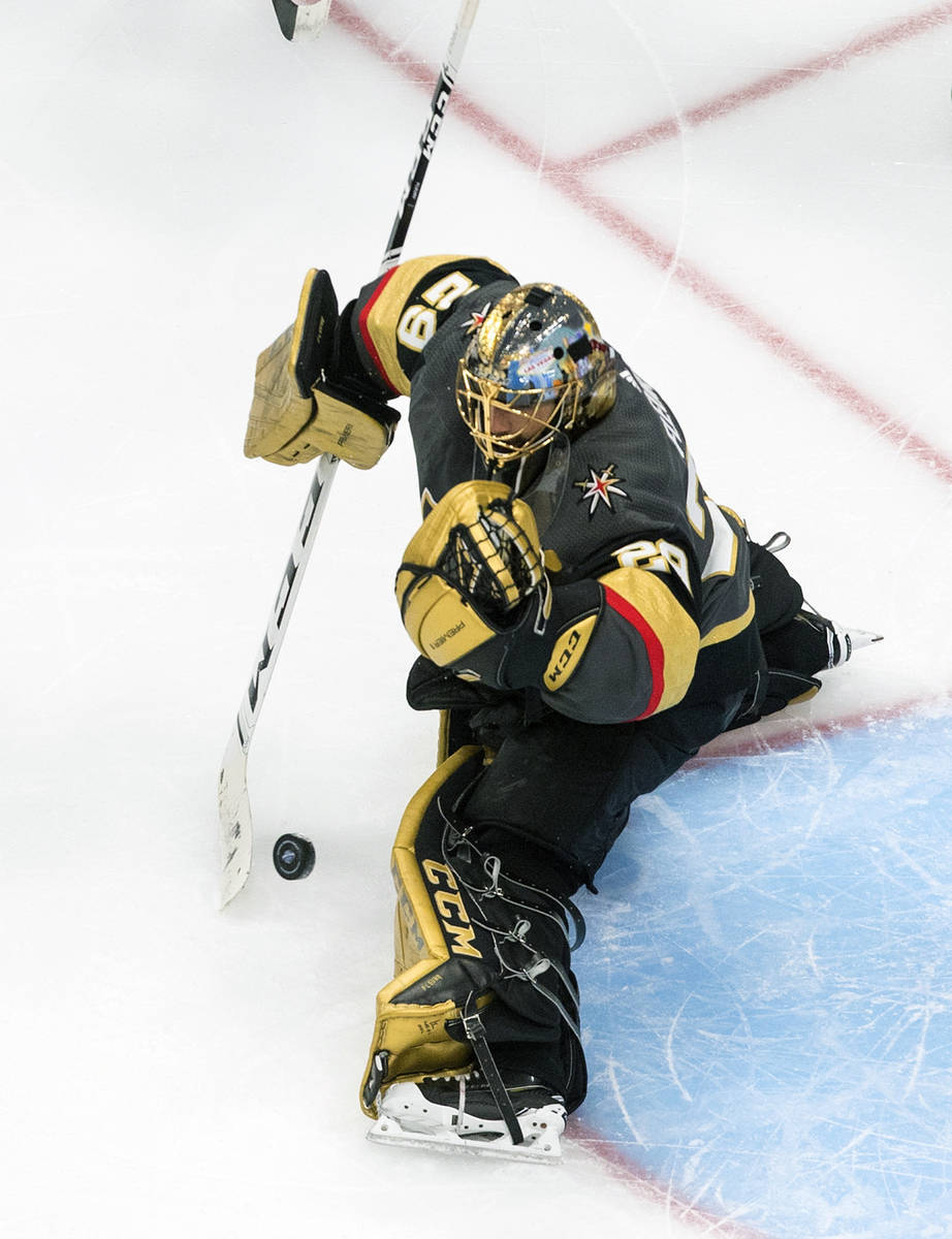 Vegas Golden Knights goalie Marc-Andre Fleury (29) makes a save against the Dallas Stars during ...
