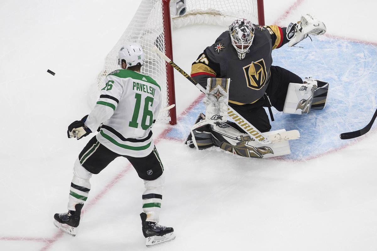 Dallas Stars' Joe Pavelski (16) is stopped by Vegas Golden Knights goalie Robin Lehner (90) dur ...