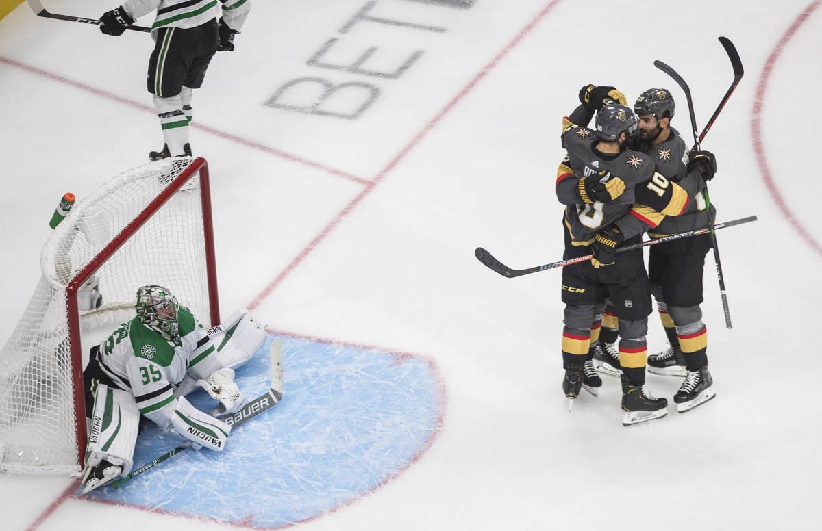 Dallas Stars goalie Anton Khudobin (35) reacts as Vegas Golden Knights' Paul Stastny, obscured, ...