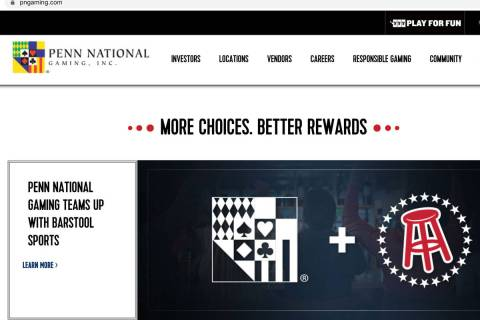 Penn National Gaming's website is seen on Tuesday, Sept. 8, 2020. Penn National Gaming will rol ...