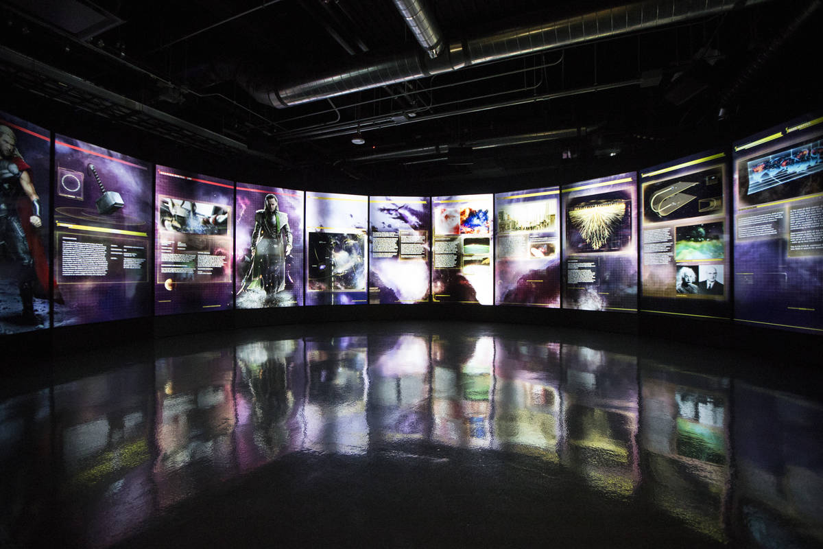 Interactive screens are seen at the Marvel's Avengers STATION inside the Treasure Island hotel- ...