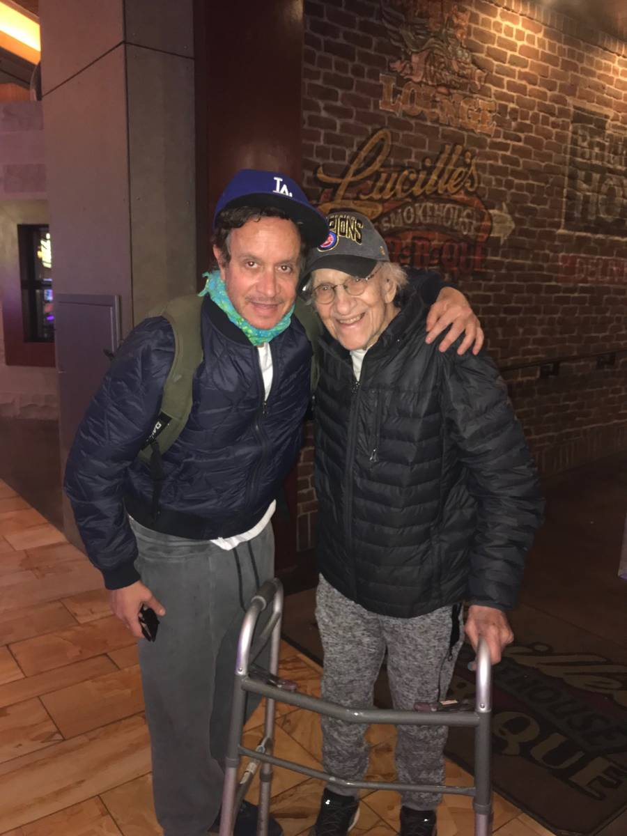 Pauly Shore, left, with father Sammy Shore. (@PaulyShore/Twitter)