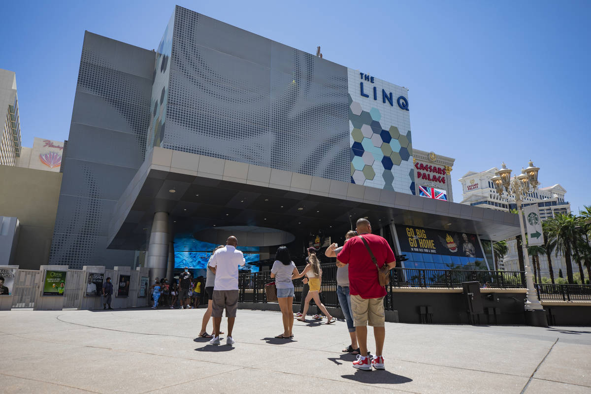 Individuals walk near the LINQ Hotel and Casino on the Strip on Friday, Aug. 7, 2020, in Las Ve ...