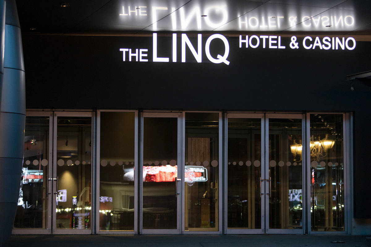 The Linq Hotel is closed amid coronavirus nonessential business closures on Wednesday, April 8, ...