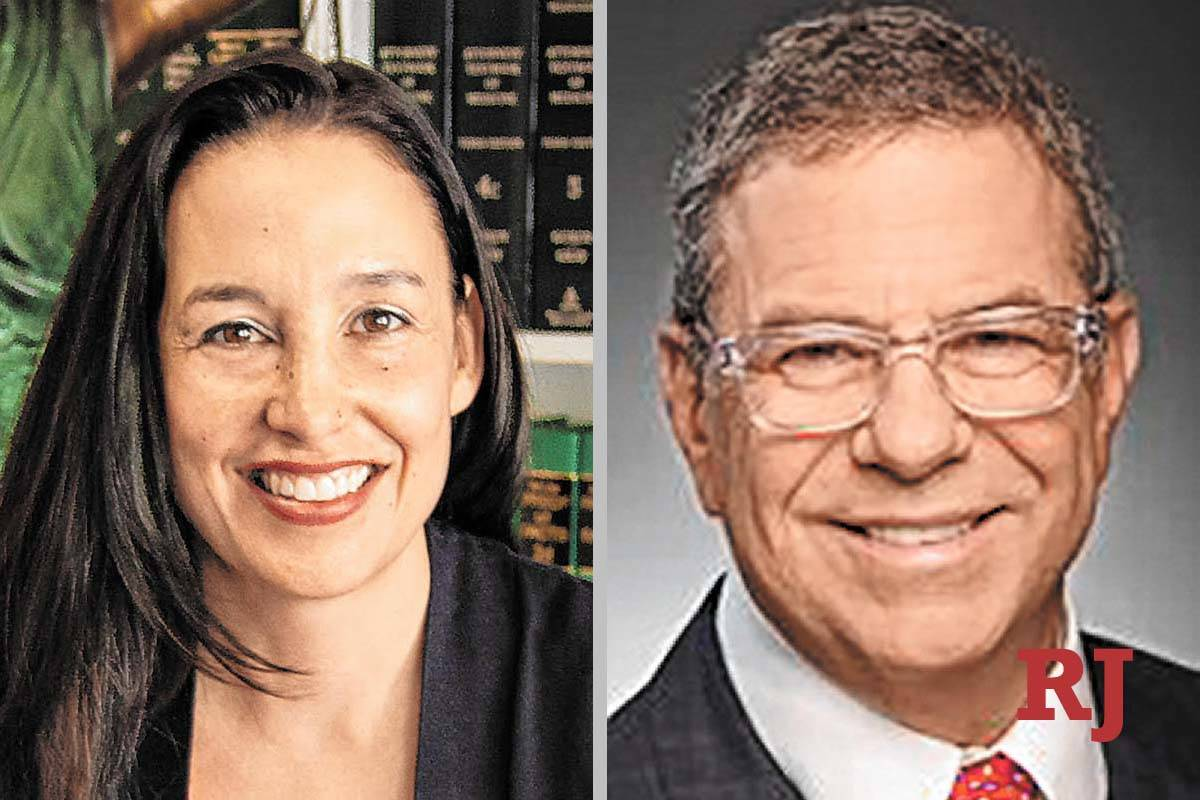 Nadia Krall and Phil Aurbach, candidates for District Court Dept. 4 (Courtesy photos)