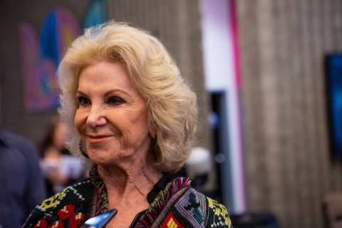 """This Feb. 18, 2020, file photo shows Elaine Wynn before a screening of """"A Fine Line"""" at the Jud ..."""