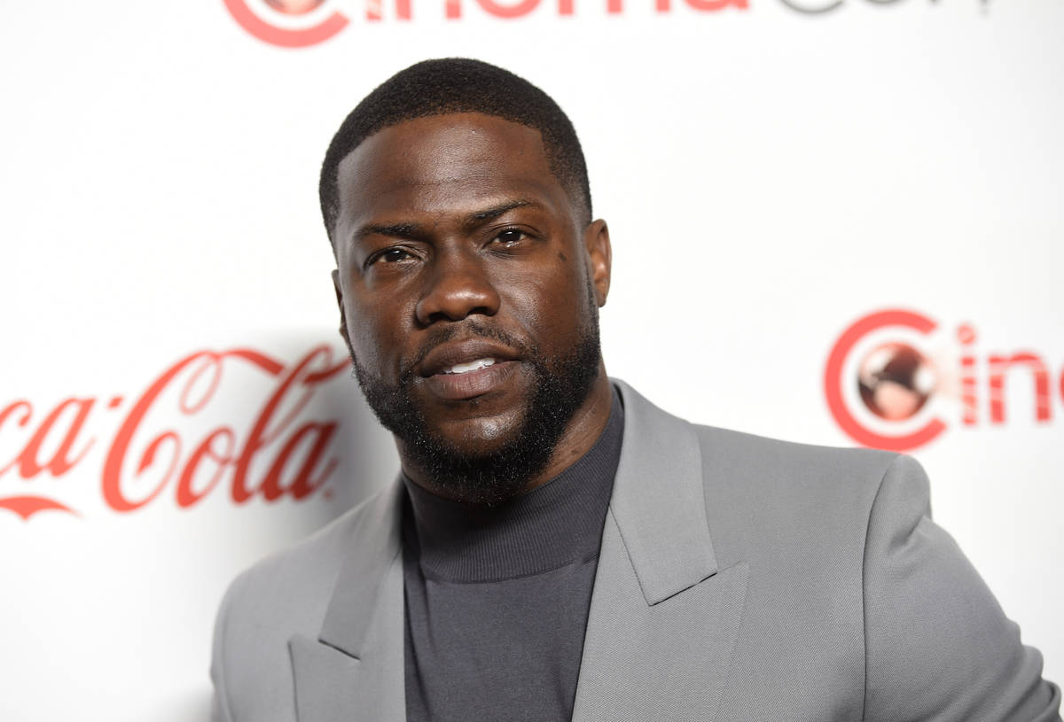 FILE - In this April 4, 2019 file photo, Kevin Hart, recipient of the CinemaCon international s ...