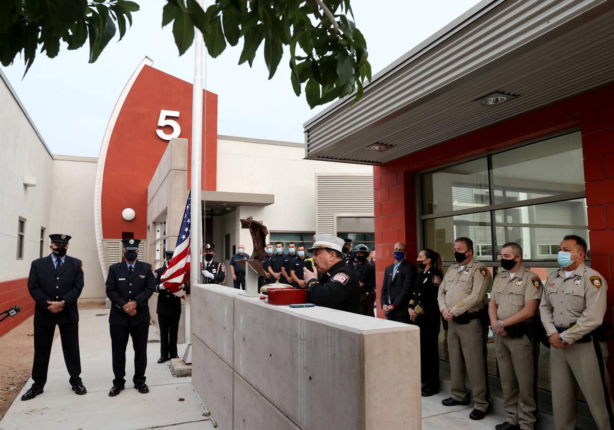 Las Vegas Fire and Rescue spokesman Tim Szymanski announces on the radio to all Southern Nevada ...