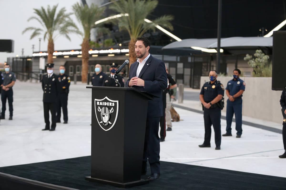 Clark County Commissioner Michael Naft speaks during a 9/11 ceremony at Allegiant Stadium in La ...