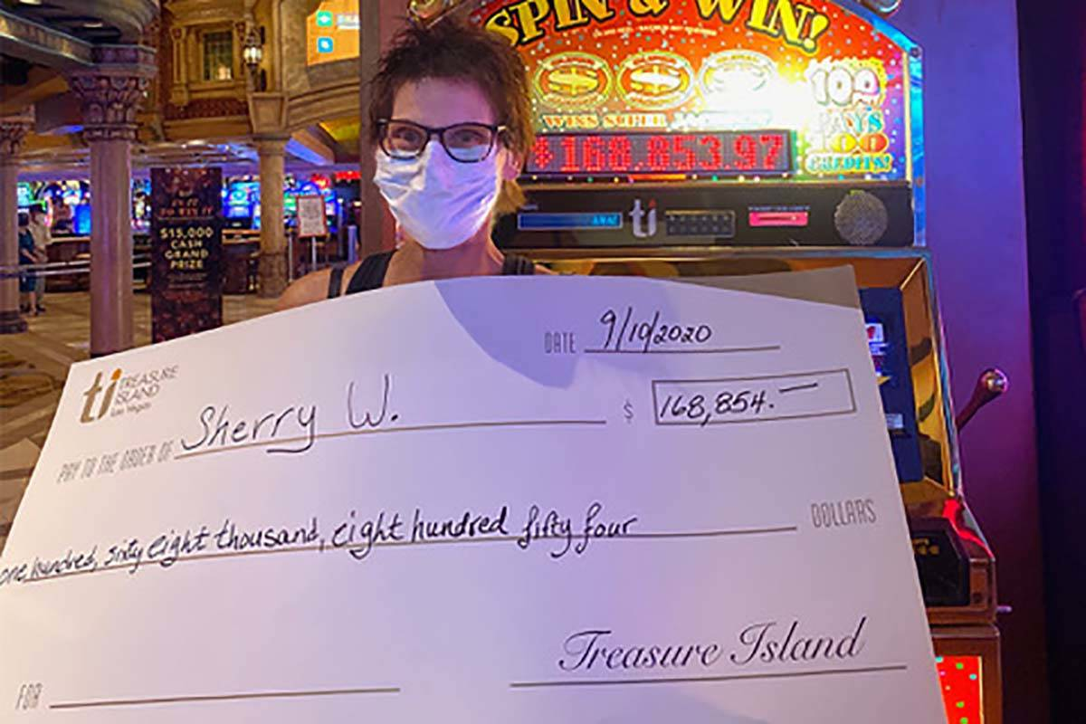 Sherry W. won $168,854 at Treasure Island on Thursday, Sept. 10, 2020. (Treasure Island)