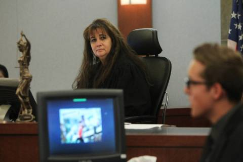 Clark County Judge Joanna Kishner listens to a witness during a mock trial by students. (Erik V ...