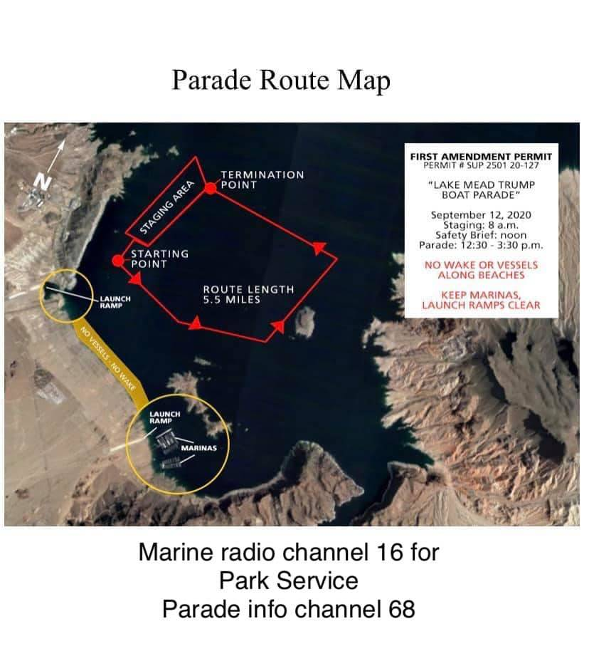 Map of approved Trump boat parade route at Lake Mead for Saturday. Photo courtesy Bryan Bandy.