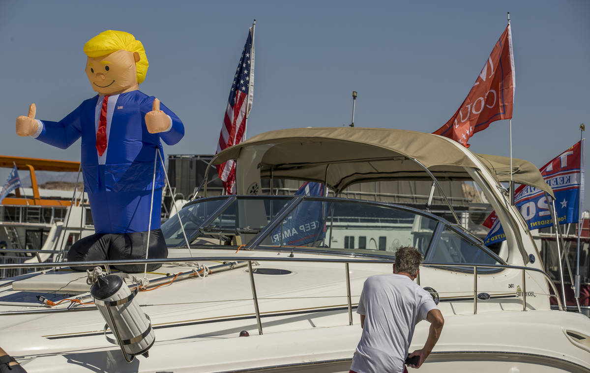 An inflatable President Donald Trump is ready to be viewed by others during the President Donal ...