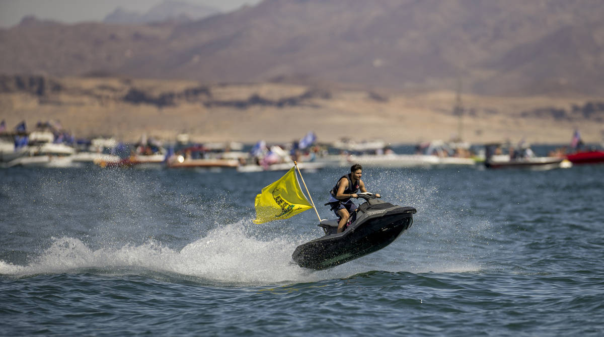 A jet skier catches some air as he participates in the President Donald Trump boat parade on La ...