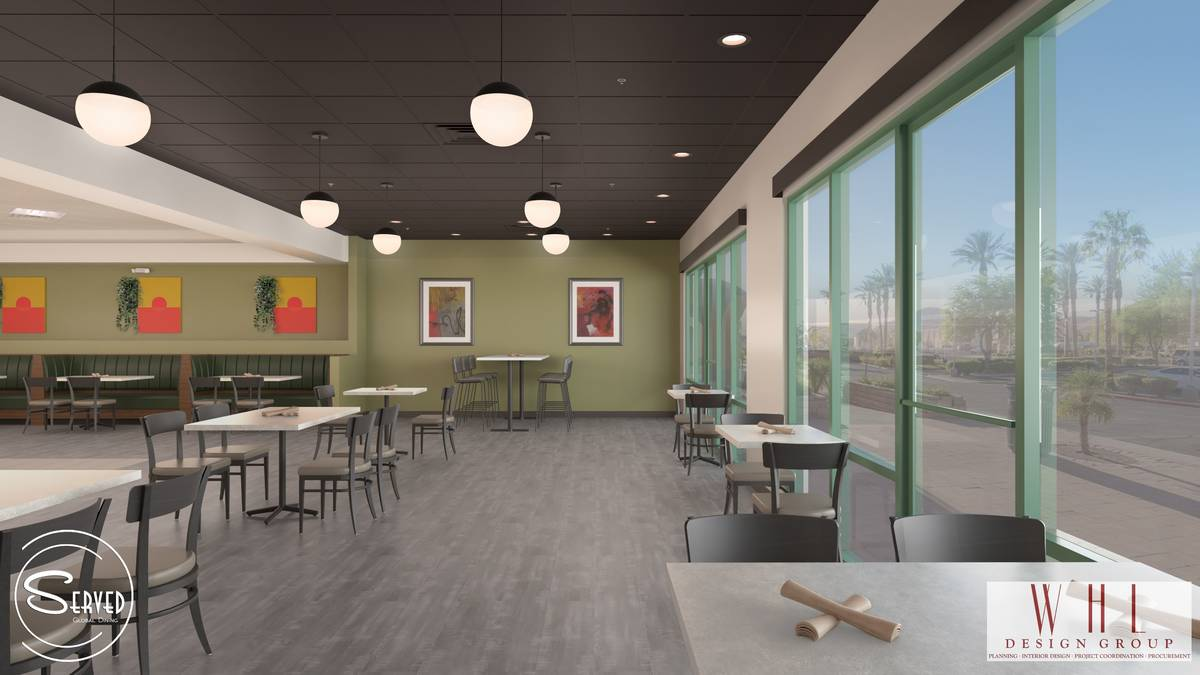 COVID-compliant layout of the future Served Global Cuisine. (WHL Design Group)