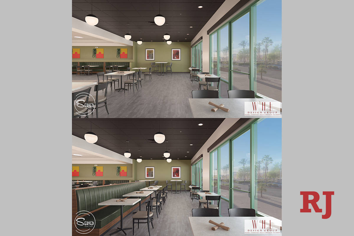 Top rendering shows COVID-compliant layout of the future Served Global Cuisine in Henderson; bo ...