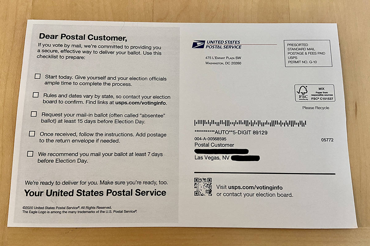 Postcards Sent By Usps Has Inaccurate Voting Information State Says Las Vegas Review Journal