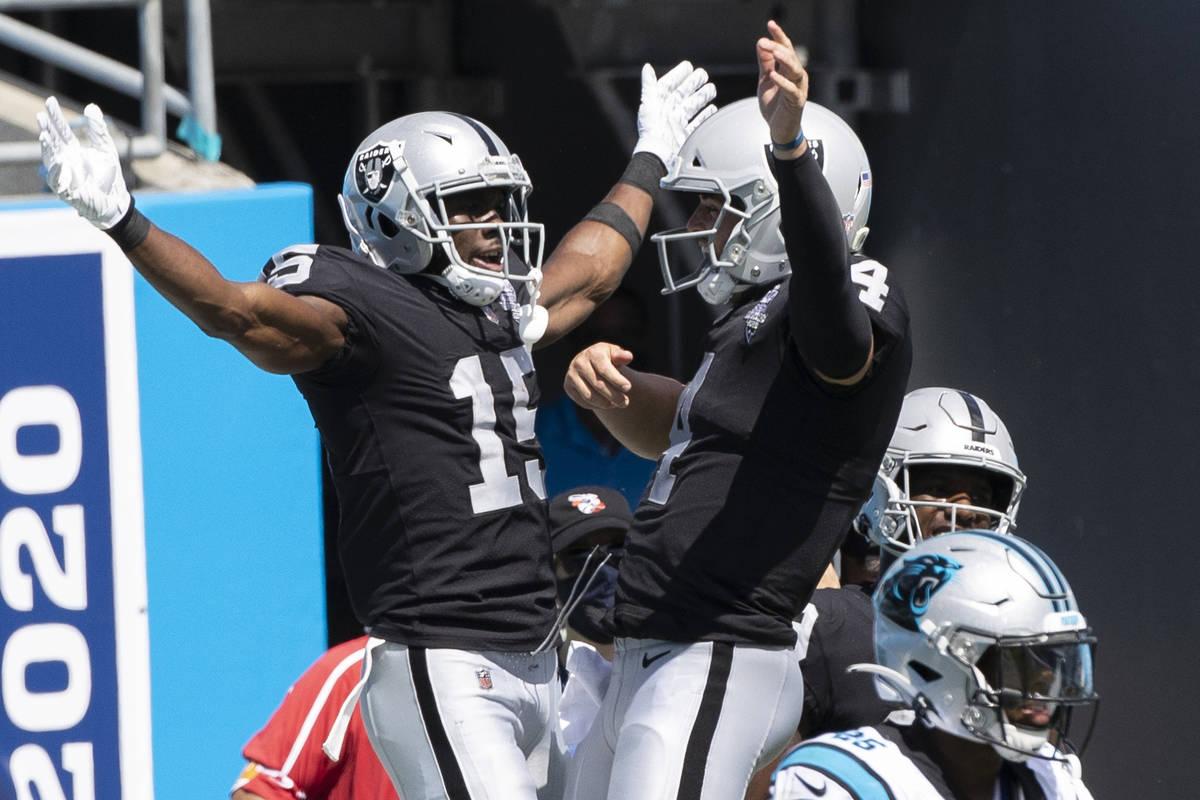 Las Vegas Raiders wide receiver Nelson Agholor (15) celebrates a second quarter touchdown catch ...
