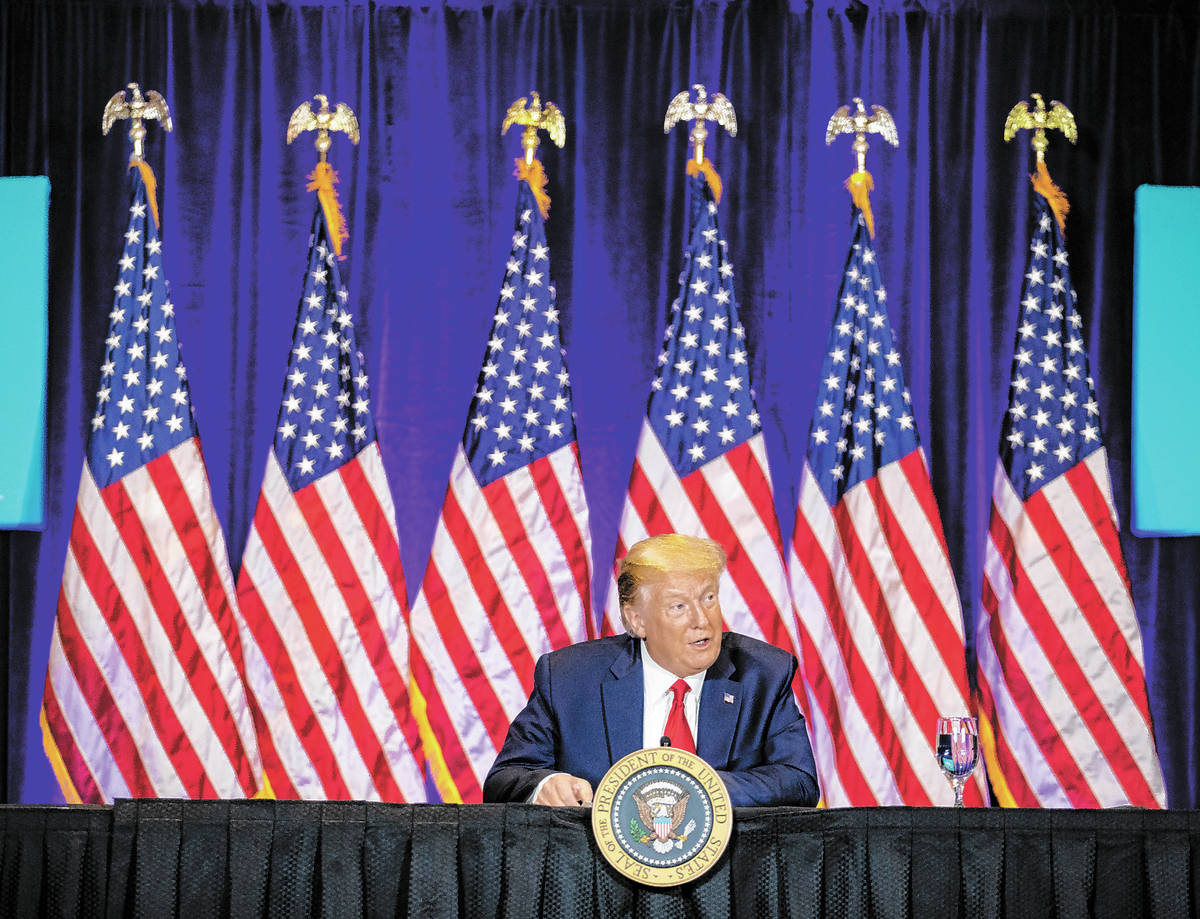 President Donald Trump addresses the Latinos for Trump roundtable at Treasure Island hotel-casi ...