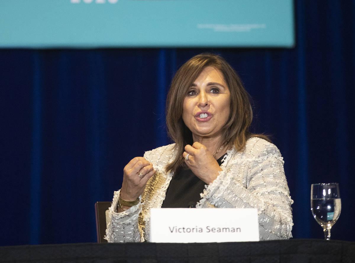 Las Vegas City Councilwoman Victoria Seaman speaks to President Donald Trump and the Latinos fo ...