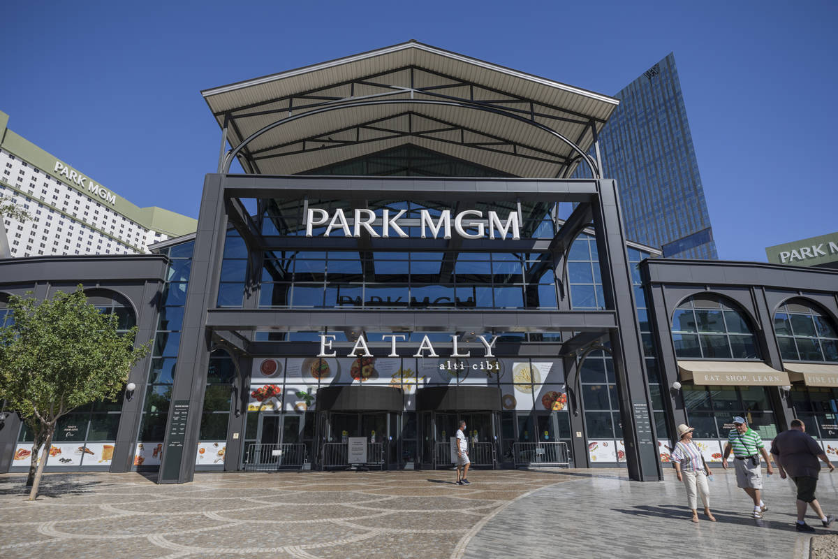 A view of Park MGM along the Las Vegas Strip on Wednesday, Aug. 12, 2020. The resort will be sm ...