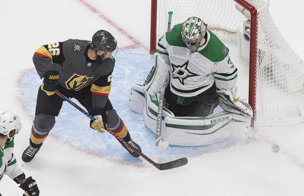 Dallas Stars' goalie Anton Khudobin (35) makes a save against Vegas Golden Knights' Paul Stastn ...