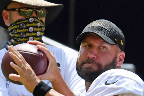 Pittsburgh Steelers quarterback Ben Roethlisberger drops back to pass during an afternoon NFL f ...