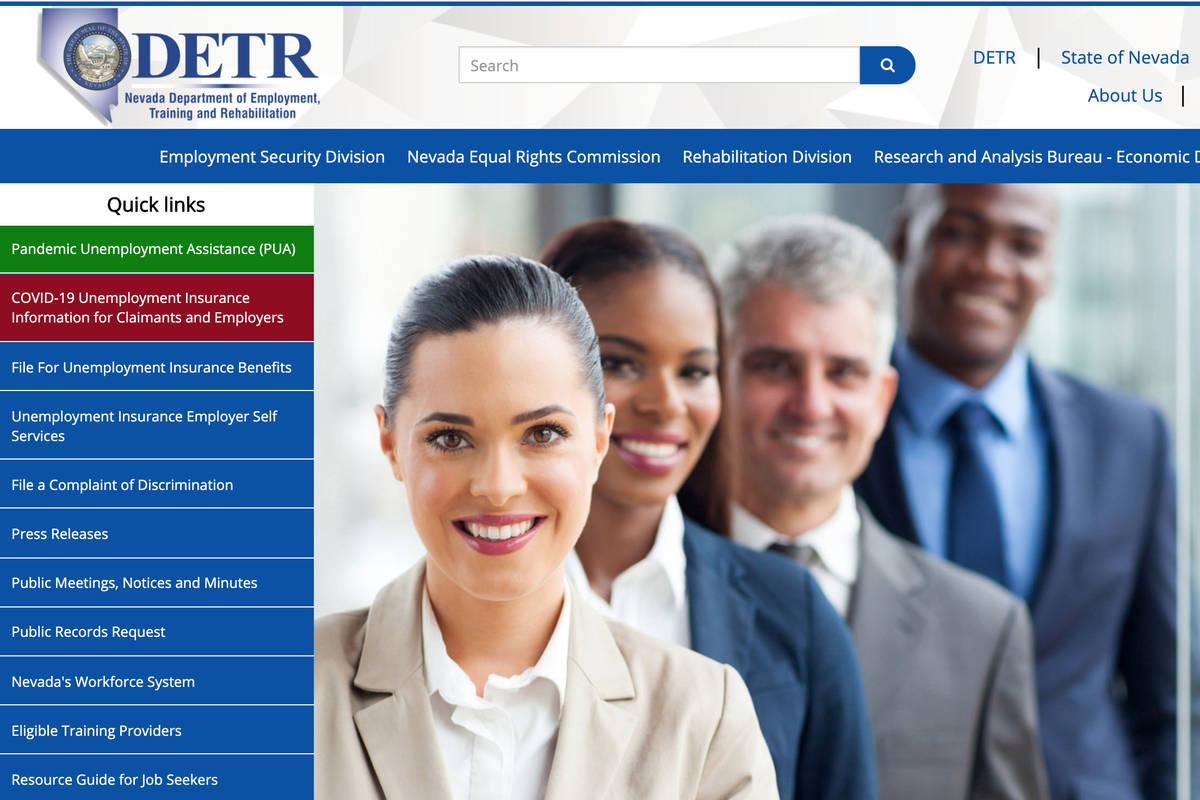 A screenshot of Nevada Department of Employment, Training and Rehabilitation's website. (DETR)