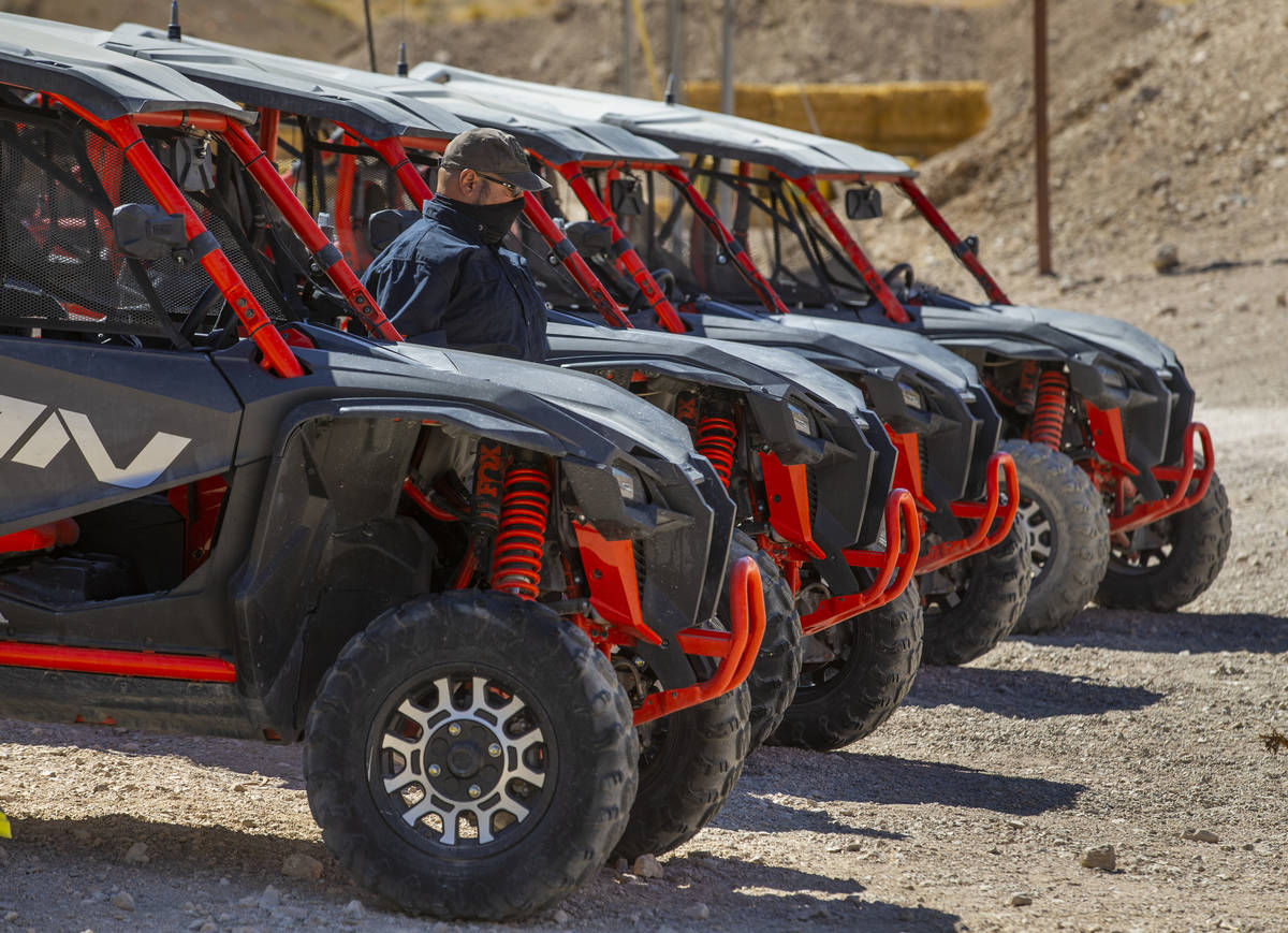 Honda Talons are lined up and ready for the dirt trails at Adrenaline Mountain, which offers nu ...