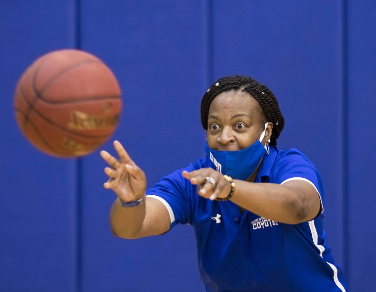 Dorothy Kendrick, head women's basketball coach at the College of Southern Nevada, works ...
