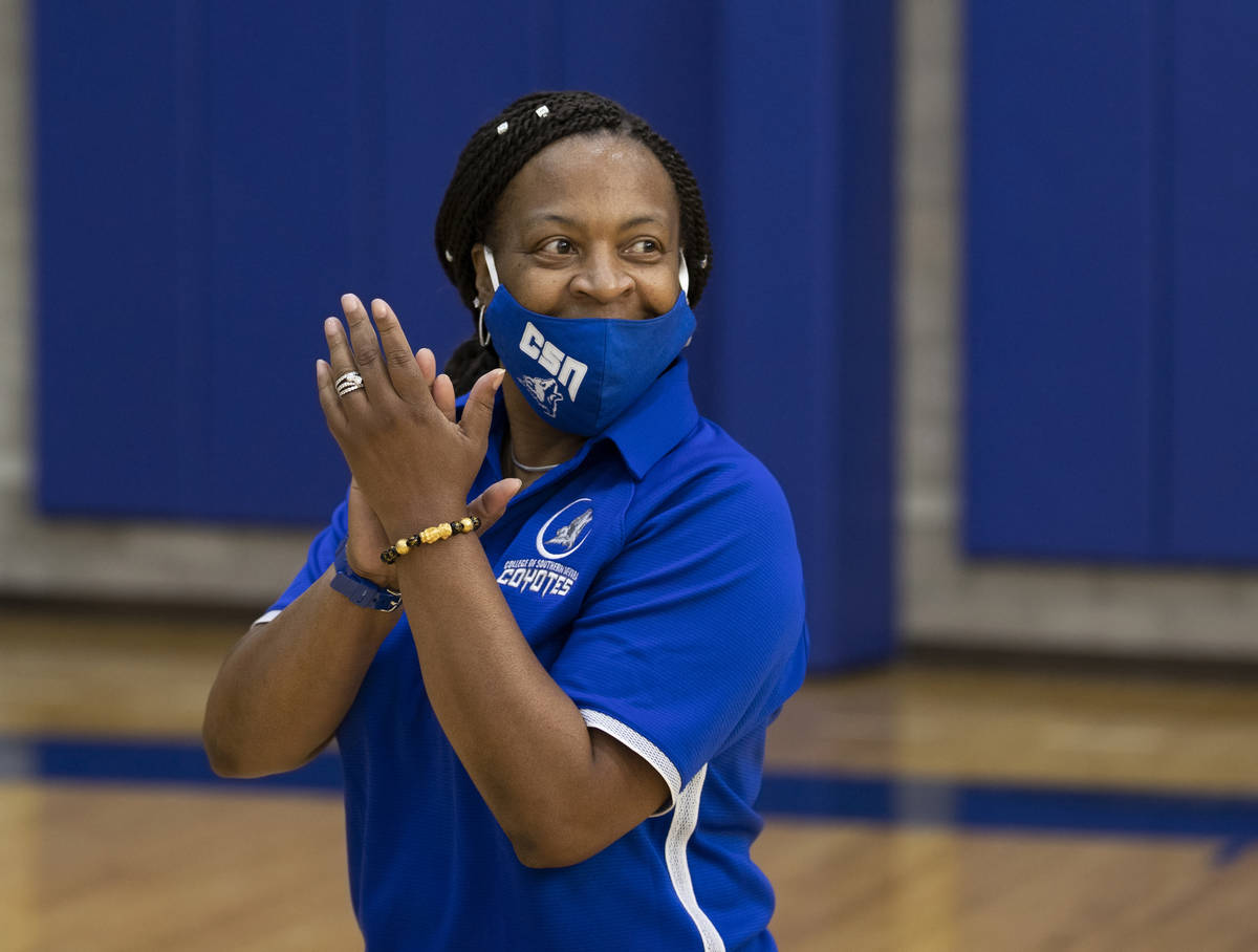 Dorothy Kendrick, head women's basketball coach at the College of Southern Nevada, works her pl ...
