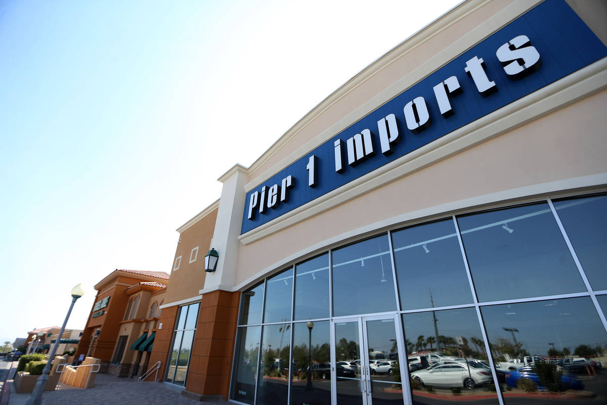 The closed Pier 1 Imports store at the Crossroads Commons shopping center in Las Vegas, Wednesd ...